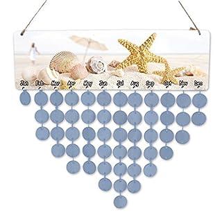Awhao Calendar Alarm DIY Calendar of Wooden annniversaire Table Family Wall Anniversary Ornament B: Bleu Claire