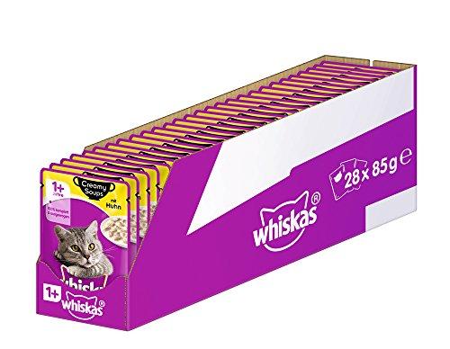Whiskas Creamy Soups 1 + Katzenfutter, Hochwertiges Nassfutter für gesundes Fell, Feuchtfutter in verschiedenen Geschmacksrichtungen