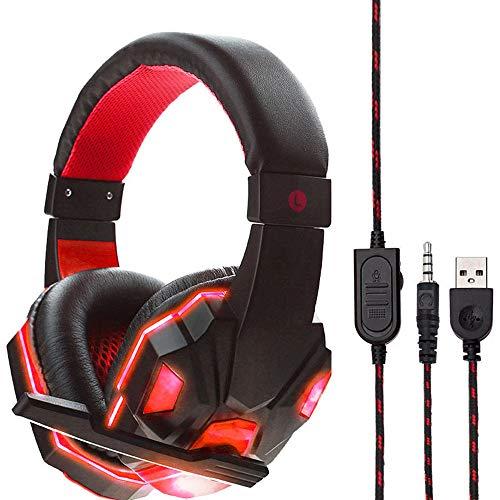 Theshy USB-Headset mit Kabel, LED, 3,5 mm, mit Mikrofon, für PS4 / Xbox/One Kopfhörer mit Fernbedienung, Mikrofon rot Htc One X Stereo