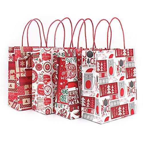 Seil Griff Tote (Weihnachtsgeschenk Tasche Traditionelles Design mit Seil Griff & Tag-, 4er Pack (M))
