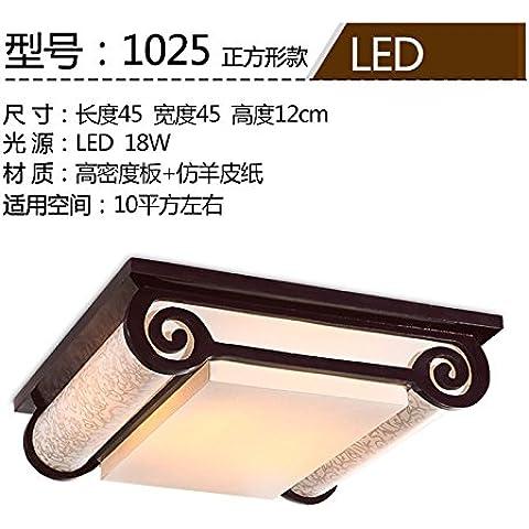 Kagy Chino moderno lámpara de techo rectangular de Luces luces de vitela salón luminoso dormitorio restaurante Chino creativo ,45*45cm lámpara