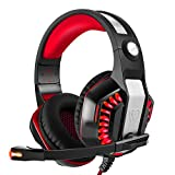DIZA100 Gaming Headset Noise Cancelling Headphones with Microphone Volume Control and LED Light Xbox One Headset for PS4, PC, Mac, Computer-Red