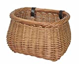 NEW! Delux, Heritage, Large, Pot, Traditional Handmade, Vintage, Wicker Bicycle Basket. Strengthened rim, extra length, leather straps.