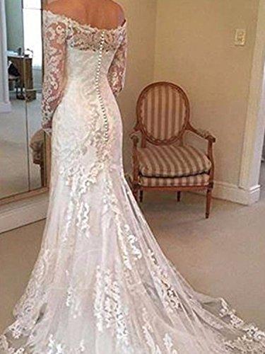 Annxrose Damen Lange Ärmel Off-The-Schulter Tüll Spitze Appliques Meerjungfrau Brautkleid Hochzeitskleid Elfenbein 32 - 2