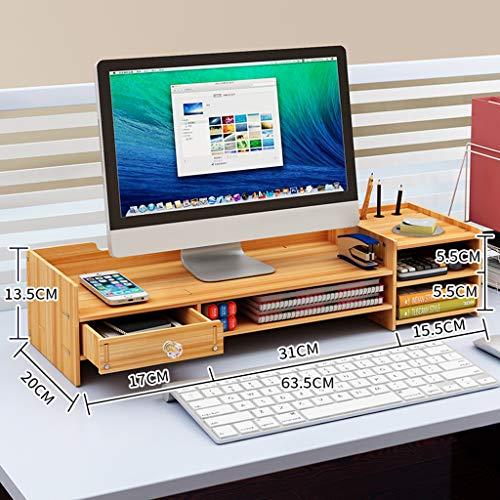 UYASDASFAFGS Bambus 2-tiier Bildschirmständer,Multimedia Computer Monitorständer Schreibtisch Organizer Platz Sparen Bildschirmerhöhung Für Imac Drucker Notebook-c