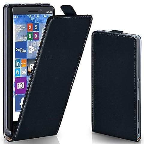 Nokia Lumia 930 Hülle Schwarz [OneFlow 360° Klapp-Hülle] Etui thin Handytasche Dünn Handyhülle für Nokia Lumia 930 Case Flip Cover Schutzhülle Kunst-Leder