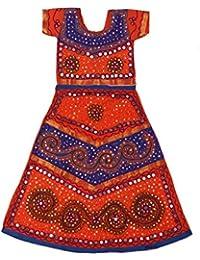 Pikaboo Blue Orange Girls Chaniya Choli Dress (1-2 Years)