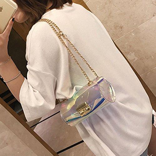 AiSi Damen Mädchen mini transparente Handtasche Umhängetasche Party-Bag Damenhandtaschen Abendtasche mit Umhängekette durchsichtig Mehrfarbig