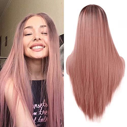 Larga naranja rosa recta peluca moda 2 tono