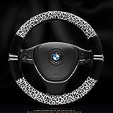Black-Rain, coprivolante per auto con corona e cristalli, da donna, in lattice, elegante e alla moda, per volanti fino a 38 cm