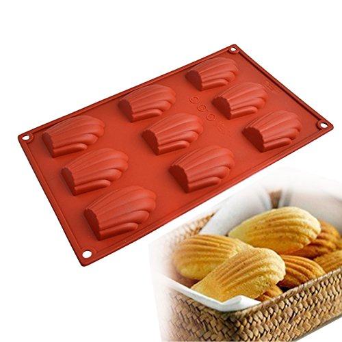 Nikgic 9 in 1 Shell Form Silikon Muffinform Non-Stick Madeleine Kuchenform Handgemachte Schokolade Keks Backform für Kinder Zufällige Farbe