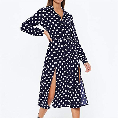 YKDDEE Fashion Rock Vintage Polka Dot Shirt Kleid Frauen Sommer Maxi Chiffon Kleid Langarm Casual Split Bandage Langes Party Kleid L Navy Blau (Navy Blau Party-kleider Für Frauen)