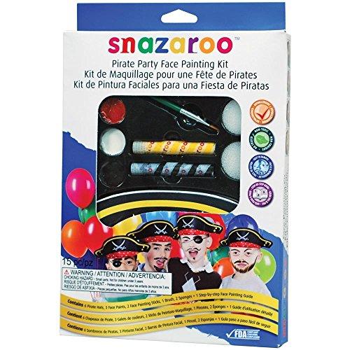 Snazaroo Schminkfarben Party Set Piraten , Schminkpalette mit Pinsel, 2 Schwämmchen und Anleitung, 6 x Piratenhut, 5 Farben