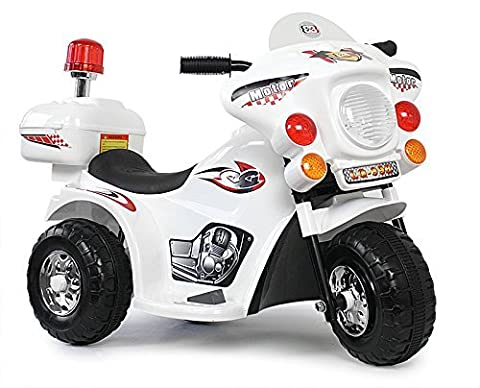 Kindermotorrad Elektromotorrad Kinderfahrzeug Dreirad Kinder Polizei Motorrad in Weiß (Weiß)