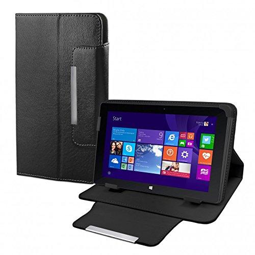 eFabrik Tasche für TrekStor Volks-Tablet SurfTab wintron 10.1 3G Volks-Tablet 3 Hülle Zubehör Schutzhülle mit Aufsteller Leder-Optik schwarz