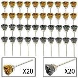cnmade 3mm acero cepillos de alambre de latón rueda cepillo de limpieza para pulir accesorio para Dremel esmeriladora herramientas rotatorias 40pcs