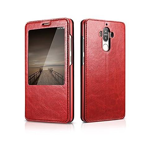 Coque Huawei Mate 9 Flip Case, DEMEDO (série Knight) Housse Folio Cuir PU avec support, Fenêtre transparente intelligente (Vue & Contrôle) Fold Shell pour Mate 9(Pourrir)