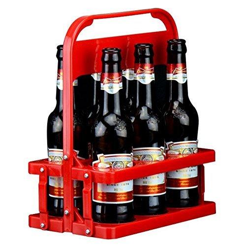 loghot Kunststoff Faltbare 6er Pack Bier Flasche Caddy Eimer Halterung, tragbar klappbar Bier Korb für den täglichen Gebrauch und Party L rot