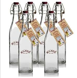 Kilner Traditional Vintage Style Square Airtight Clip Top Preserve Glass Bottles, 0.55 Litre - 6 Piece Set