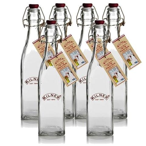 Kilner Traditional stile Vintage, in vetro a chiusura ermetica, bottiglie, 0,55 l, Set da 6 pezzi