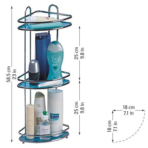 Tatkraft kaiser, compatto scaffale angolare da doccia in acciaio cromato antiruggine a 3 ripiani,colore argento, blu