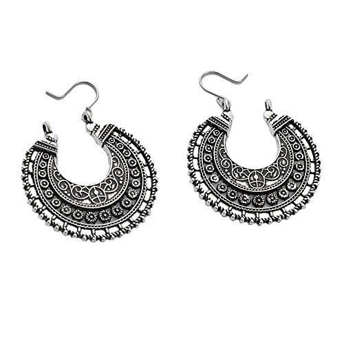 Refaxi Aro Aretes étnico Tribal Azteca Hippie Bohemio Dangle Plata Ti