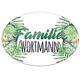 Eurofoto Türschild mit Namen Familie Wortmann und Tropischem Pflanzen-Motiv | für den Innenbereich | Klingelschild mit N