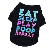 Welpen-T-Shirt, Sommer-Polyester-Kleiner Hundekleidung, Welpen-Kostüm gedrucktes T-Shirt für kleinen Hund,Perfekt Zum Wandern, Joggen, Jagen (Schwarz, L-Fit for 4.25-6kg)