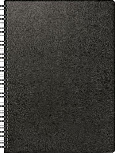 Brunnen 1078101 Buchkalender Modell 781 (2 Seiten = 1 Woche, 210 x 297 mm, Kunststoff-Decke, Kalendarium 2019, Wire-O-Bindung) schwarz