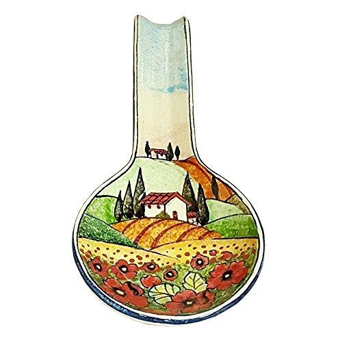 CERAMICHE D'ARTE PARRINI- Ceramica italiana artistica , posamestolo decorazione paesaggio papaveri , dipinto a mano , made in ITALY Toscana