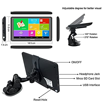 Jimwey-GPS-Navi-Navigation-fr-Auto-LKW-PKW-KFZ-7-Zoll-Bluetooth-Android-16GB-512MB-Kostenlos-Kartenupdate-Touchscreen-Navigationsgert-mit-POI-Blitzerwarnung-Sprachfhrung-Fahrspur-2018-EU-UK-Karte