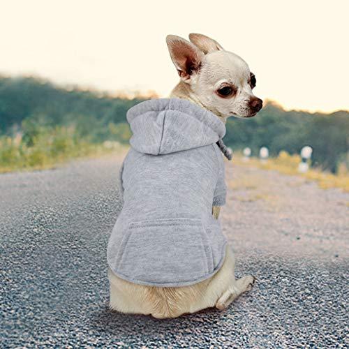 Idepet Haustier Kleidung Hundepullover Hunde Kleider welpen Pullover Hunde Warmer Mantel für Katzen Kleine Hunde Chihuahua Welpe Teddy Pudel (XL, Grau)