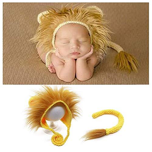 NROCF Neugeborene Junge Mädchen Handgefertigt, Baby Fotografie Requisiten Outfits Foto-Shooting, Lion Strickmütze Schwanz Sets