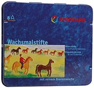 Stockmar 31000 - Pastelli a cera con cera d'api, resistenti all'acqua, 8 pezzi, custodia in metallo