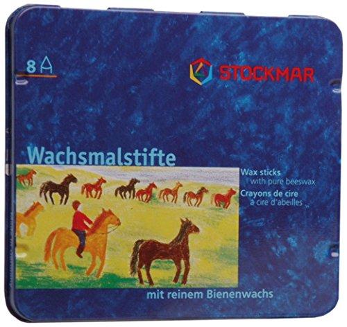 Preisvergleich Produktbild Stockmar 31000 Wachsmalstifte (8 Stifte, wasserfest, papergewickelt, aus Bienenwachs, im Blechetui)