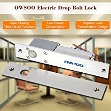 OWSOO Cerradura Eléctrica Gota Pestillo a Prueba de Fallos Secure NC Modo 12V para Sistema de Control Acceso Puerta Entrada