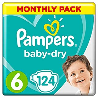 Pampers Baby-Dry Size 6, 124 Nappies, 13-18 kg, Air Channels for Breathable Dryness Overnight, Monthly Pack (B00AR9HYX0) | Amazon price tracker / tracking, Amazon price history charts, Amazon price watches, Amazon price drop alerts