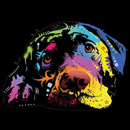 Langarm T-Shirt für Männer Langarmshirt Herren Lying Lab cooles Hunde Motiv Dog Hunde Hund langes T-Shirt Schwarz