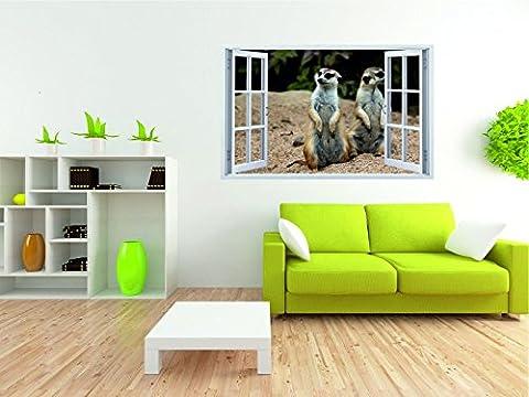 Erdmännchen Wildnis 3D Look Wandtattoo 70 x 115 cm Wanddurchbruch Wandbild Sticker Aufkleber DesFoli © F155