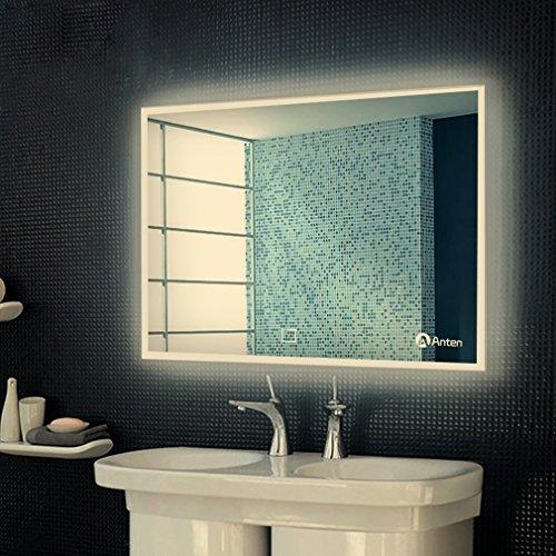 Anten Espejo de baño para tocador y espejo Espejo de baño con LED de iluminación / espejo de pared grande / espejo de luz / espejo de baño 25W blanco neutro 4000k AC110-240V con interruptor táctil: perforación, montaje en pared