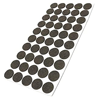Adsamm® | 50 x felt pads | Ø 0.87'' (Ø 22 mm) | brown | round | self-adhesive furniture glides with felt thickness of 0.138''/3.5 mm in top-quality by Adsamm®