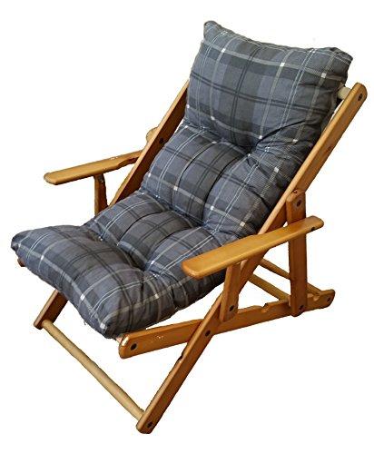 Poltrona sdraio relax 3 posizioni in legno pieghevole cuscino imbottito h 100 colore grigio scuro