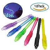 Bolígrafo de Tinta Invisible, Meersee 12 Piezas de Rotulador Permanente Seguridad Tinta Invisible y Luz UV Integrada