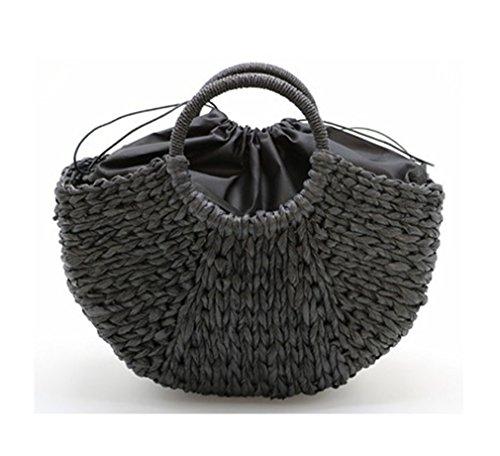 Amuele Bag Frauen Beach Weben Stroh Tasche Verpackt Beach Bag Moon Geformte Einheitsgröße Black with Lining - Coach Designer-handtasche