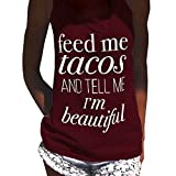 Kanpola Racerback Crop Vest Blouse Clearance Fashion Womens Letter Printed Sexy Sleeveless Tank Top T-Shirt Tops