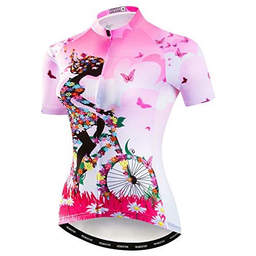 Weimostar Mountainbike-Jersey-Shirts der Radfahren Jersey-Frauen Kurze Hülse Straße Fahrrad-Kleidung Pro-Team MTB übersteigt Sommer-Kleidung Fahrrad Rosa Größe XL -