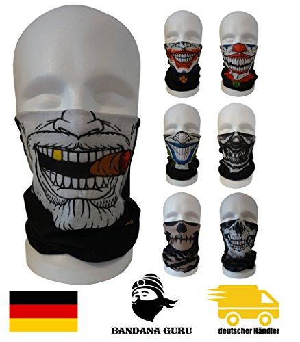 BandanaGuru máscara de joker motocicleta, máscara de cráneo tubo multifuncional para paintball/bicicleta/esquí/trote/senderismo/ciclismo/máscara rave (gangster smoking gold teeth)