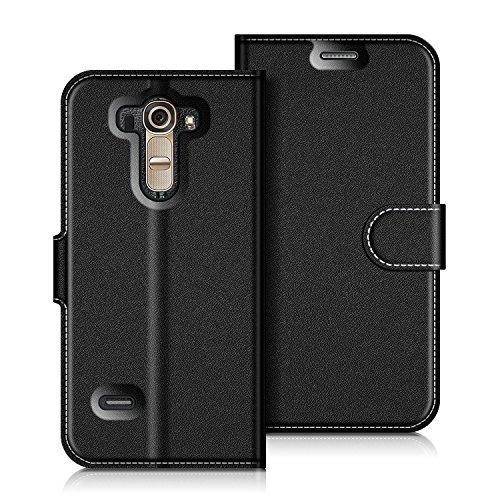 Coodio LG G4 Hülle Leder Lederhülle Ledertasche Wallet Handyhülle Tasche Schutzhülle mit Magnetverschluss / Kartenfächer für LG G4, Schwarz