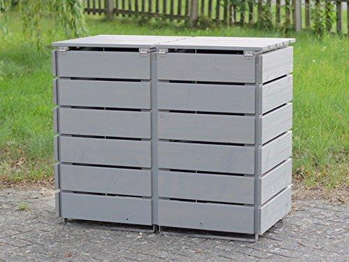 2er Mülltonnenbox / Mülltonnenverkleidung 120 L Holz, Transparent Geölt Grau - 3