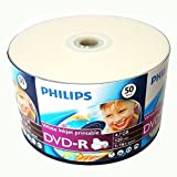 50 Pack Philips DVD-R DVDR White Inkjet Hub Printable 16X 4.7GB 120min Blank Media Disc + 50 White Paper Sleeves Window Flap Envelope
